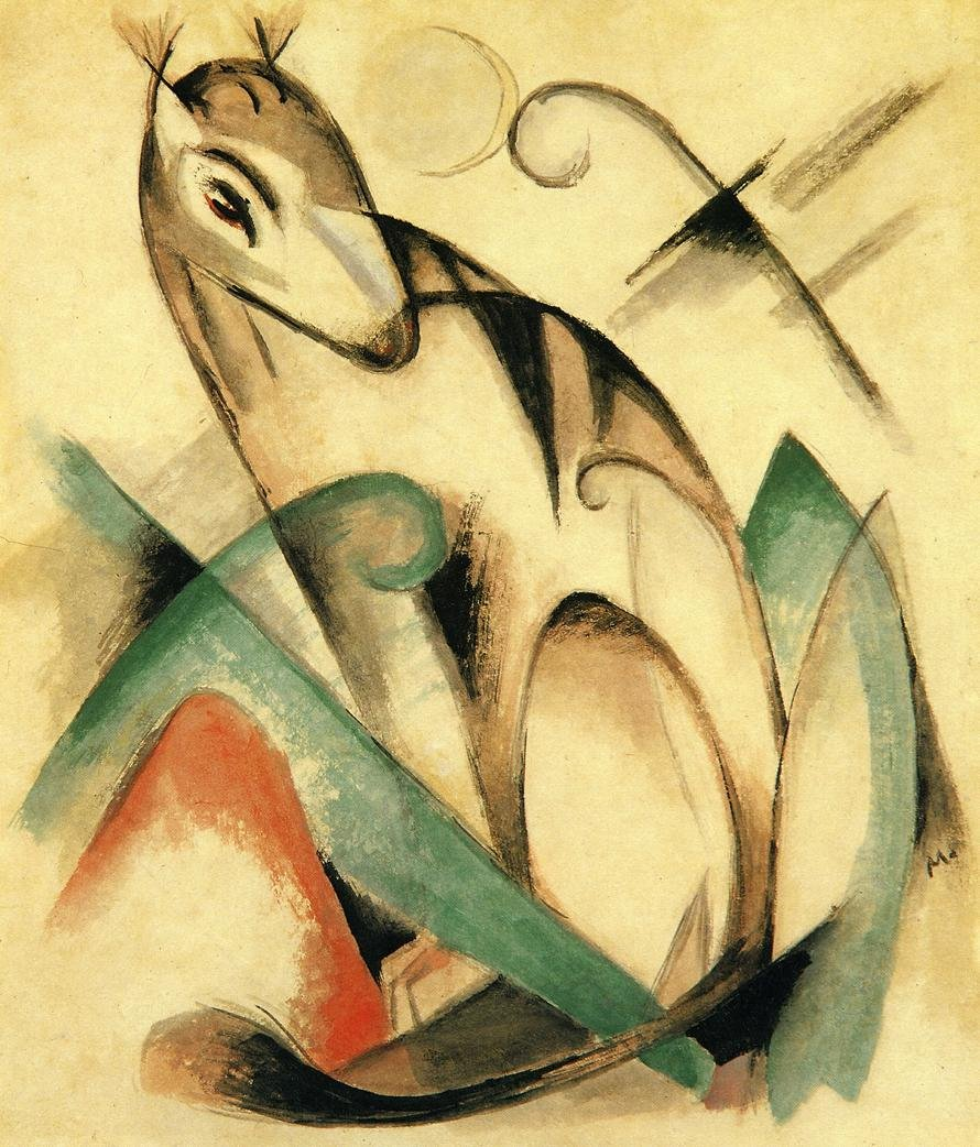 Seated Mythical Animal 1913 | Franz Marc | oil painting
