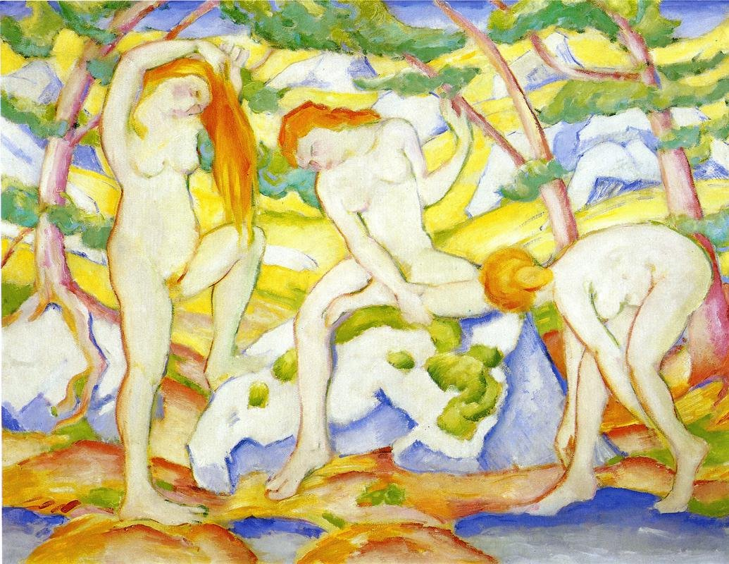 Bathing Girls 1910 | Franz Marc | oil painting