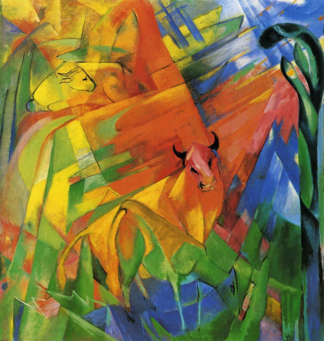 Animals in Landscape aka Painting with Bulls 1914 | Franz Marc | oil painting