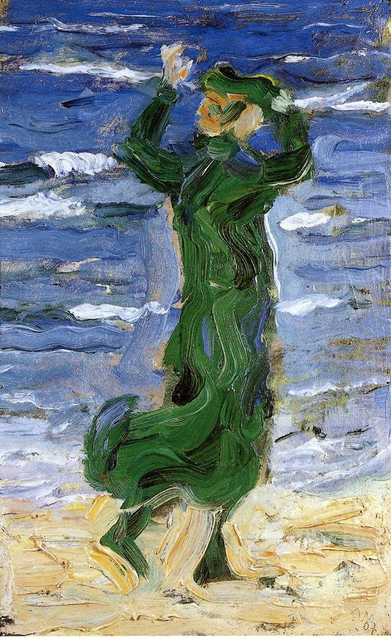 Woman in the Wind by the Sea 1907 | Franz Marc | oil painting