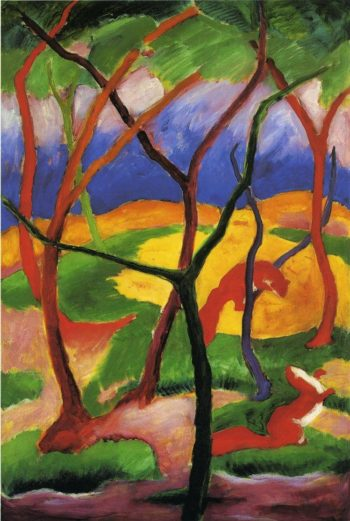 Weasels at Play 1911 | Franz Marc | oil painting
