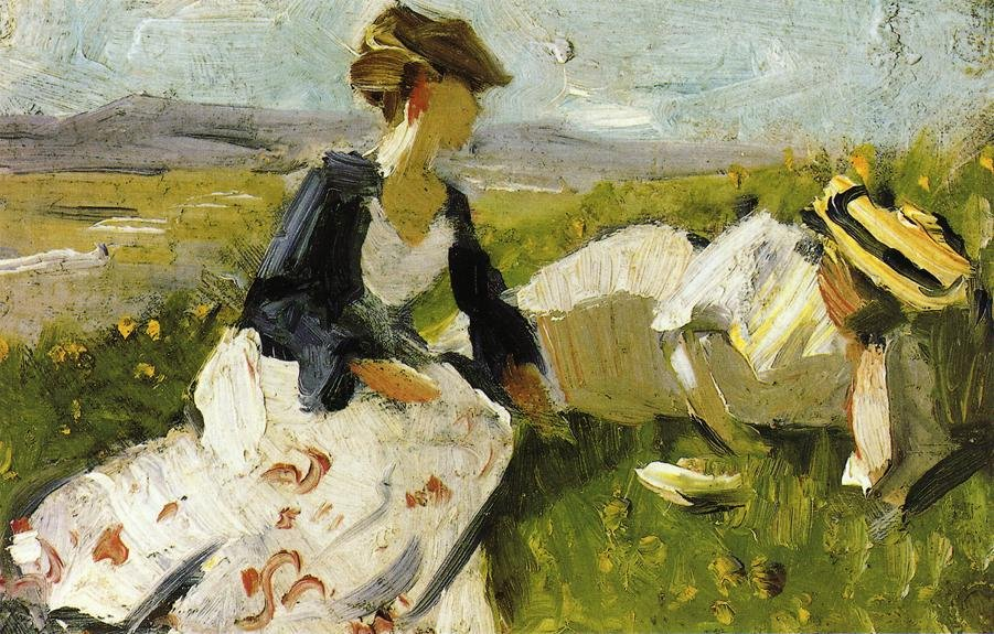 Two Women on the Hillside Sketch 1906 | Franz Marc | oil painting