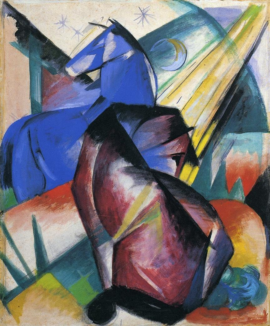 Two Horses Red and Blue 1912 | Franz Marc | oil painting
