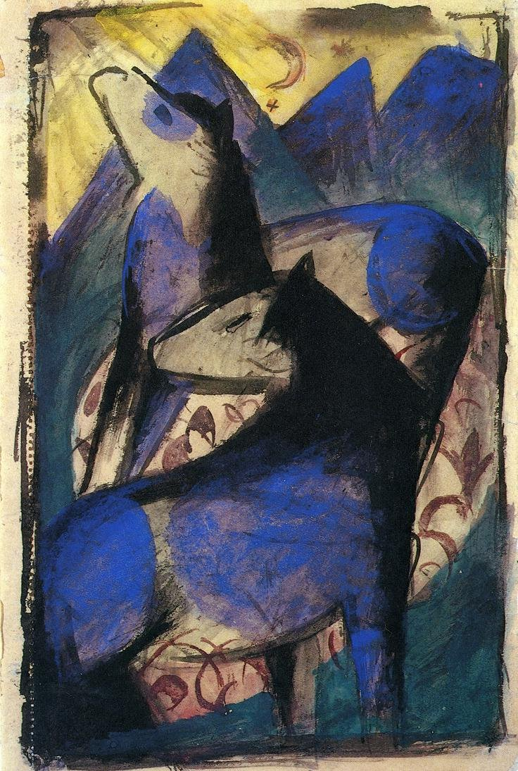 Two Blue Horses 1913 | Franz Marc | oil painting