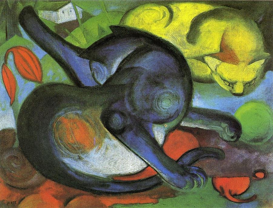 Two Cats  Blue and Yellow 1912 | Franz Marc | oil painting