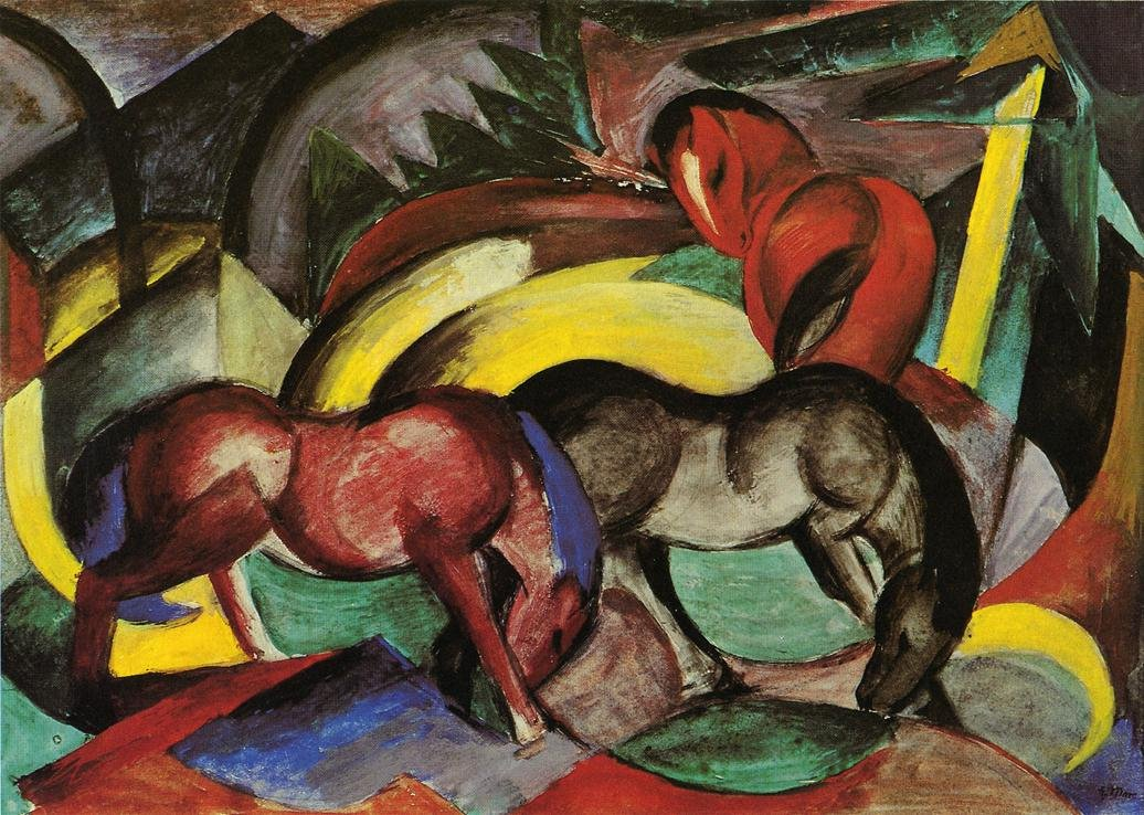 Three Horses 1912 | Franz Marc | oil painting