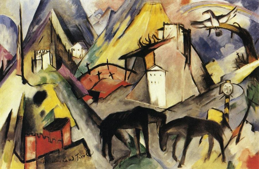 The Unfortunte Land of Tyrol 1913 | Franz Marc | oil painting