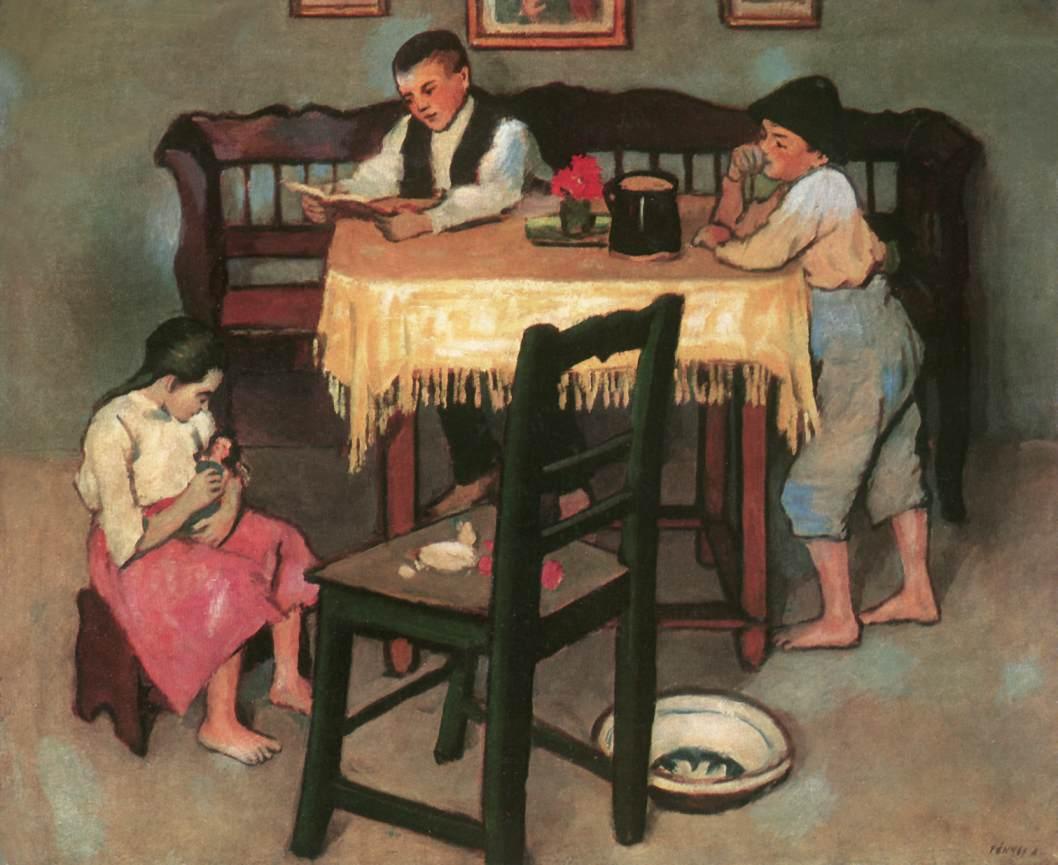 Peasant Room with Three Childrem 1907   Adolf Fenyes   oil painting