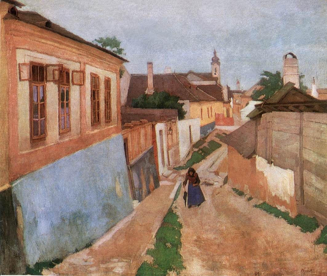 A Street at Vac 1904   Adolf Fenyes   oil painting