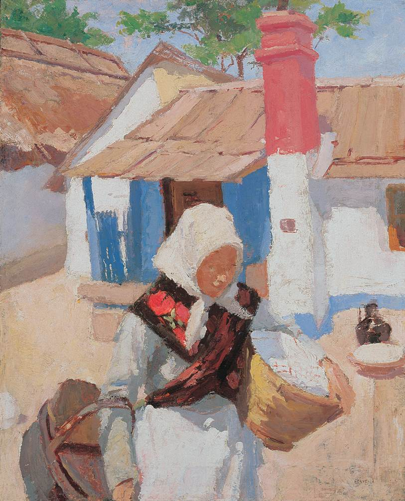 Peasant Girl Bringing Basket 1904   Adolf Fenyes   oil painting