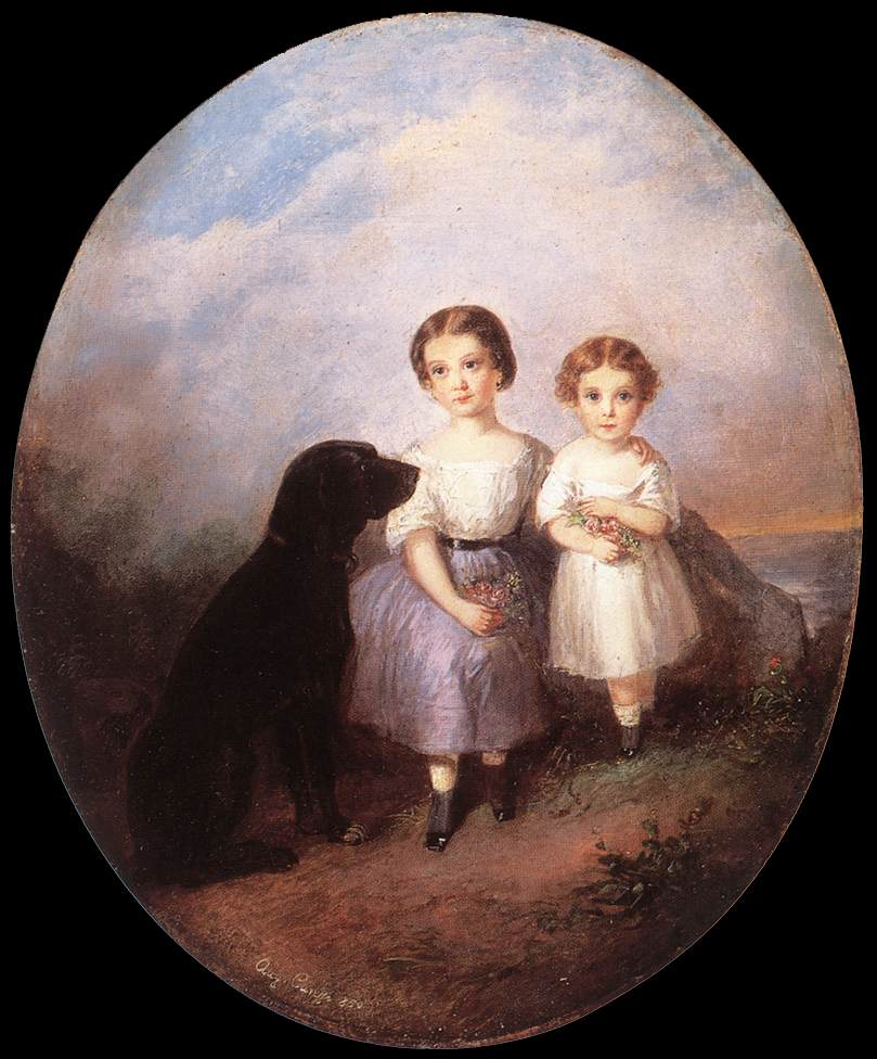 Sisters (Idyll) 1850 | Agost Elek Canzi | oil painting
