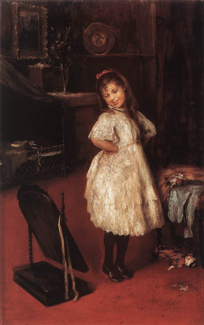 Kislany a tukor elott 1890-es evek | Artur Halmi | oil painting