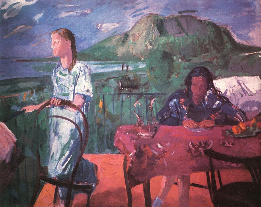 Alice and Marili on the Balcony 1947 | Aurel Bernath | oil painting
