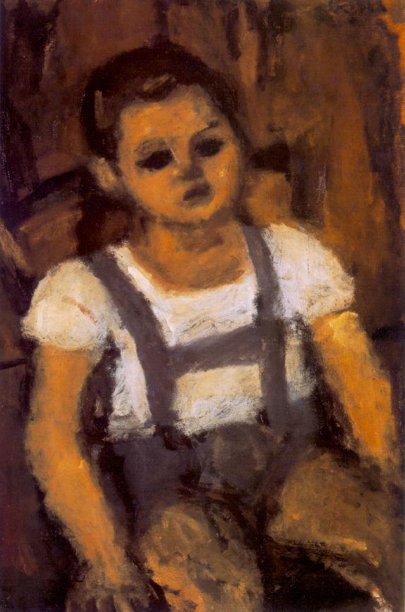 Sitting Boy c 1935 | Bela Czobel | oil painting