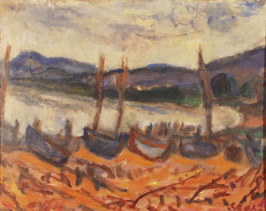 Coastal View with Barges 1930 | Bela Czobel | oil painting