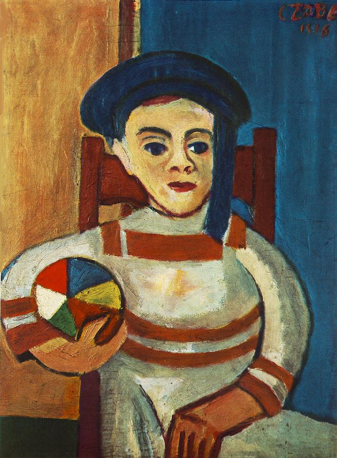 Boy Holding a Ball 1916 | Bela Czobel | oil painting