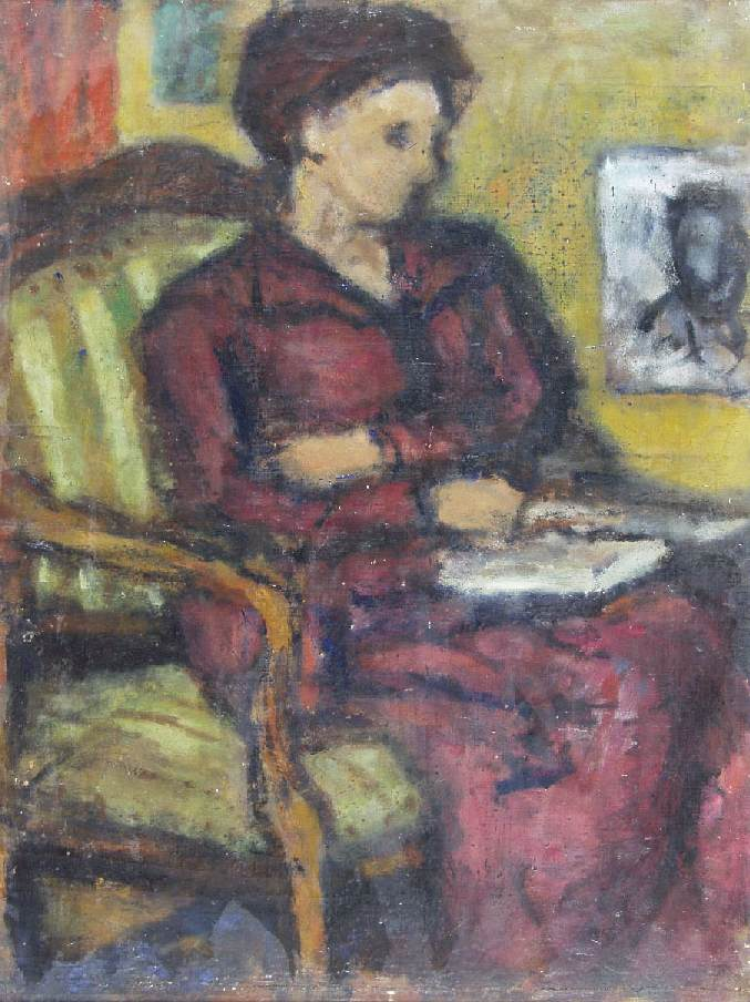 Maria in the Armchair 1943 | Bela Czobel | oil painting