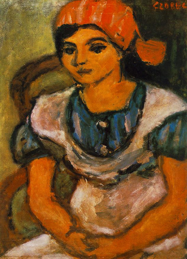 Girl with Red Shawl 1934 | Bela Czobel | oil painting