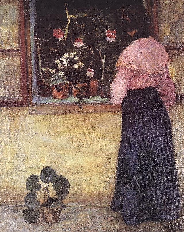 Girl by the Window with Flowers 1904 | Bela Czobel | oil painting