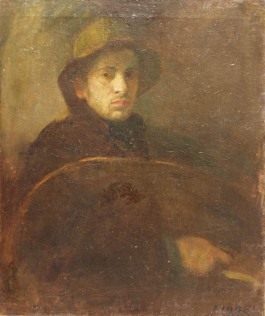 Self portrait with Palette 1902 | Bela Czobel | oil painting