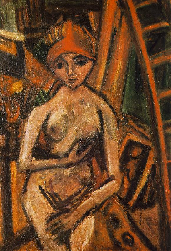 Nude with Red Turban 1926 | Bela Czobel | oil painting
