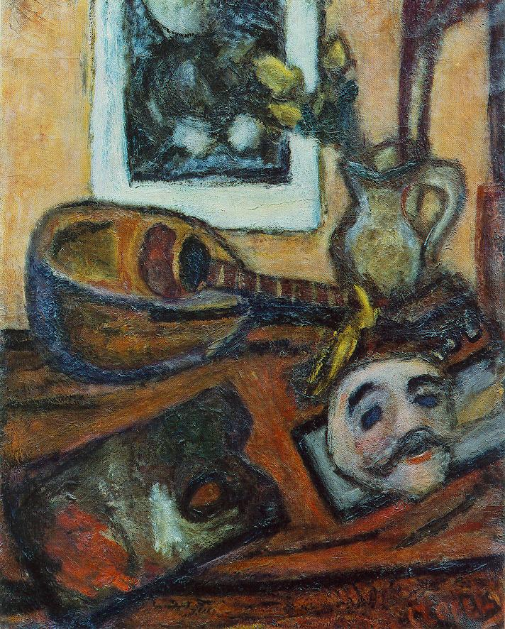Mask and Mandolin 1928 | Bela Czobel | oil painting