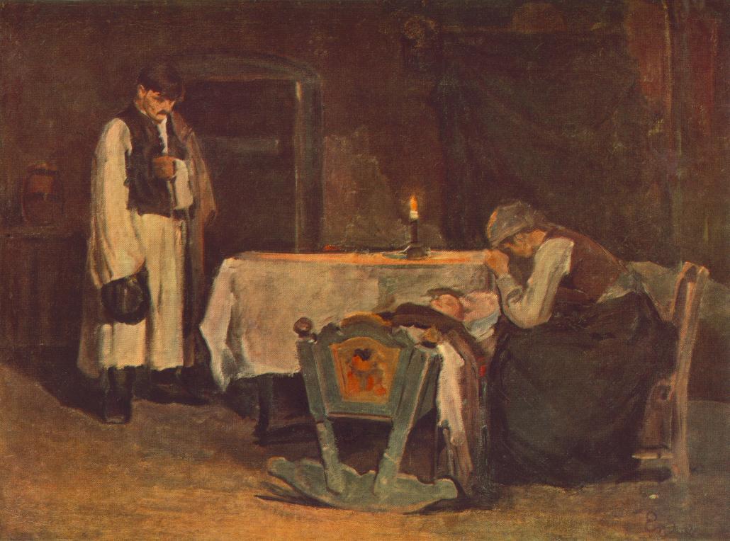 Beside the Cradle 1905 | Bela Endre | oil painting