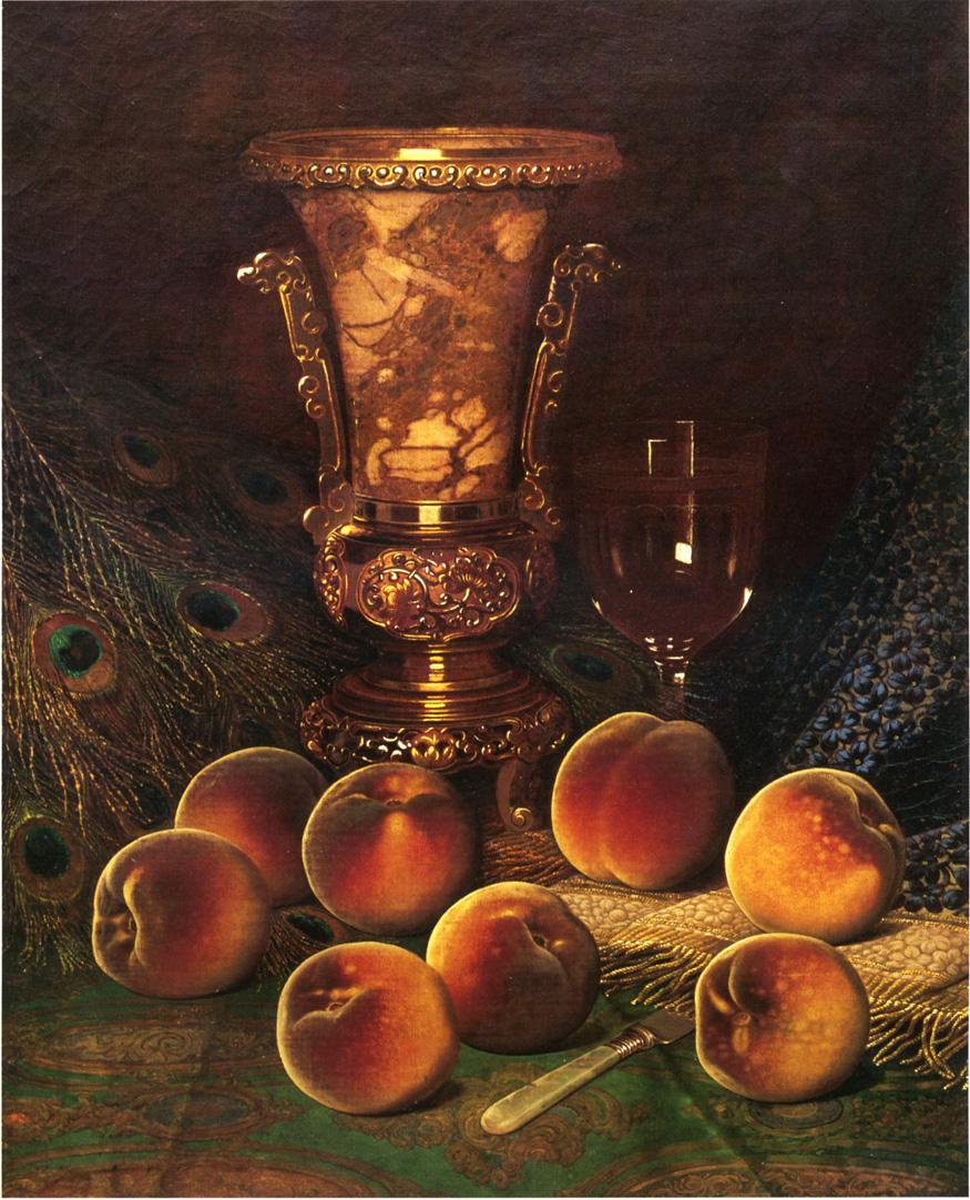 Still Life with Peaches and Marble Vase 1882   William Mason Brown   oil painting