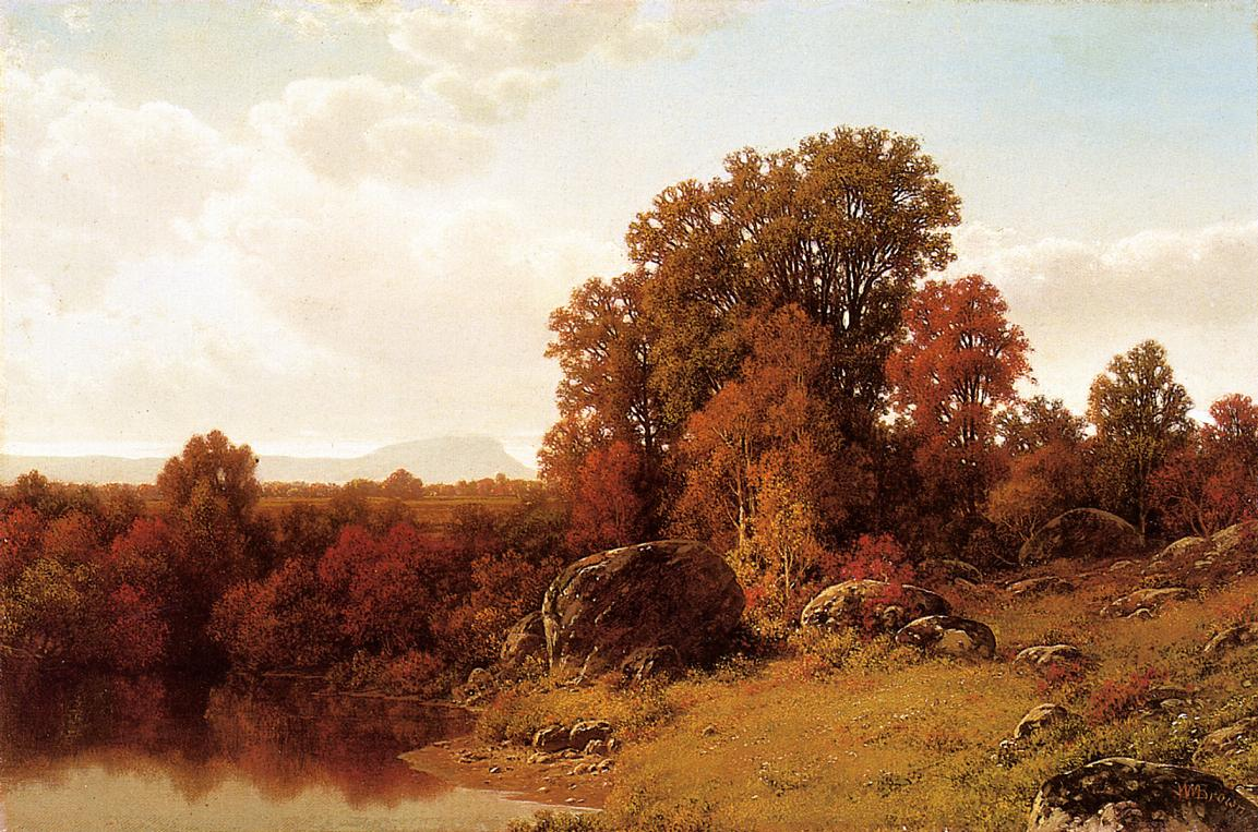 Autumn Scene on the Connecticut Rive   William Mason Brown   oil painting