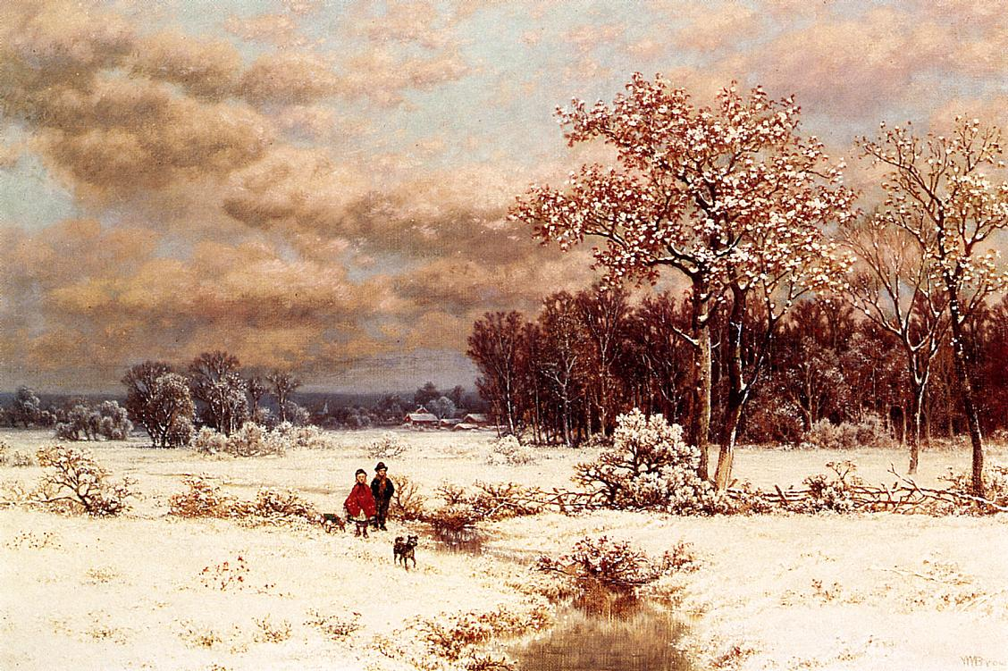 Children in a Snowy Landscape   William Mason Brown   oil painting
