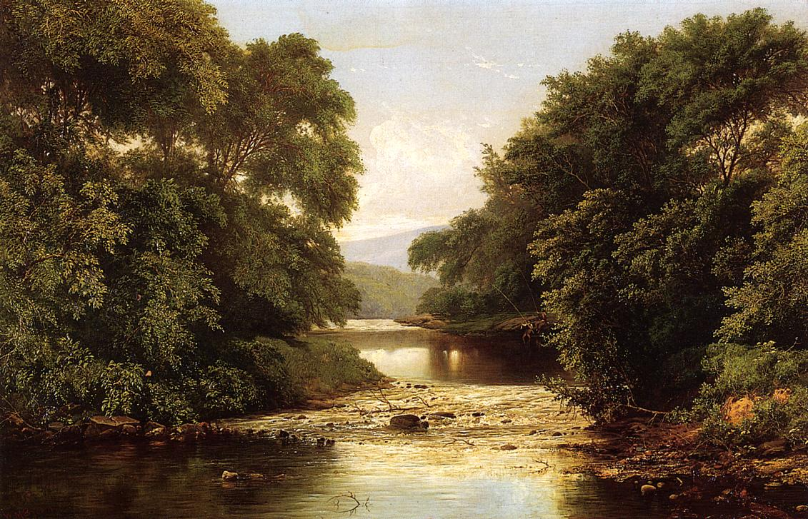 Fishing by a River   William Mason Brown   oil painting