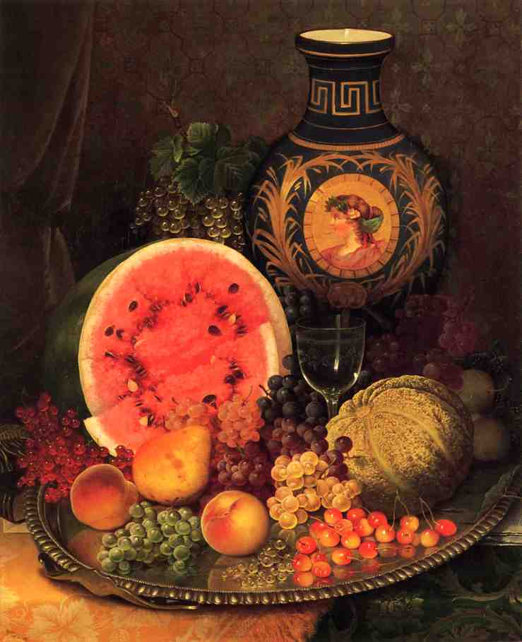 Still Life with Fruit and Vase   William Mason Brown   oil painting