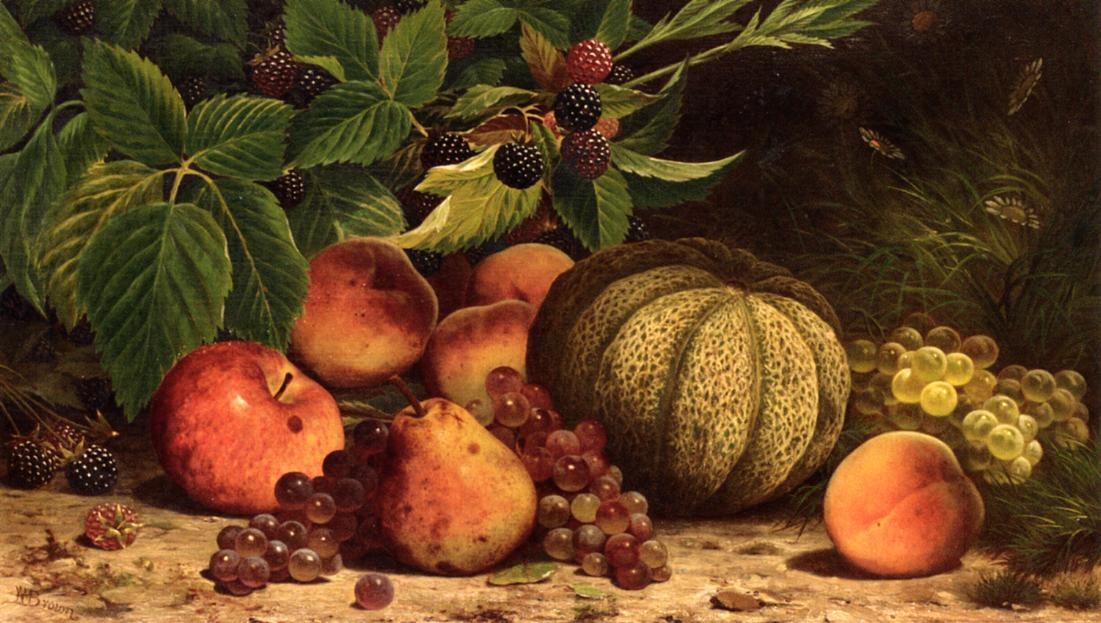 Still Life with Melon Grapes Peaches Pears and Black Raspberries   William Mason Brown   oil painting