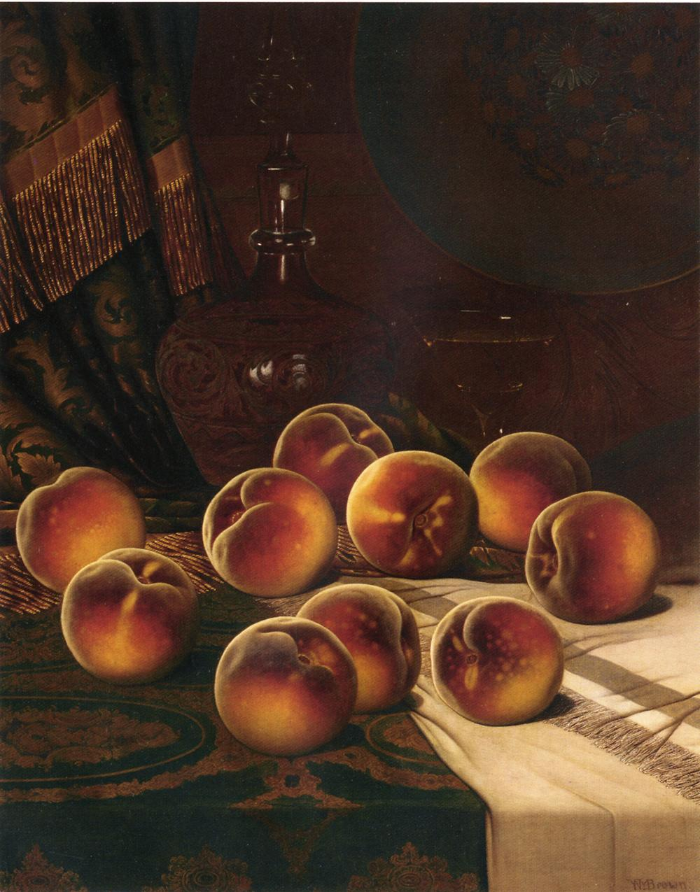 Still Life with Peaches   William Mason Brown   oil painting