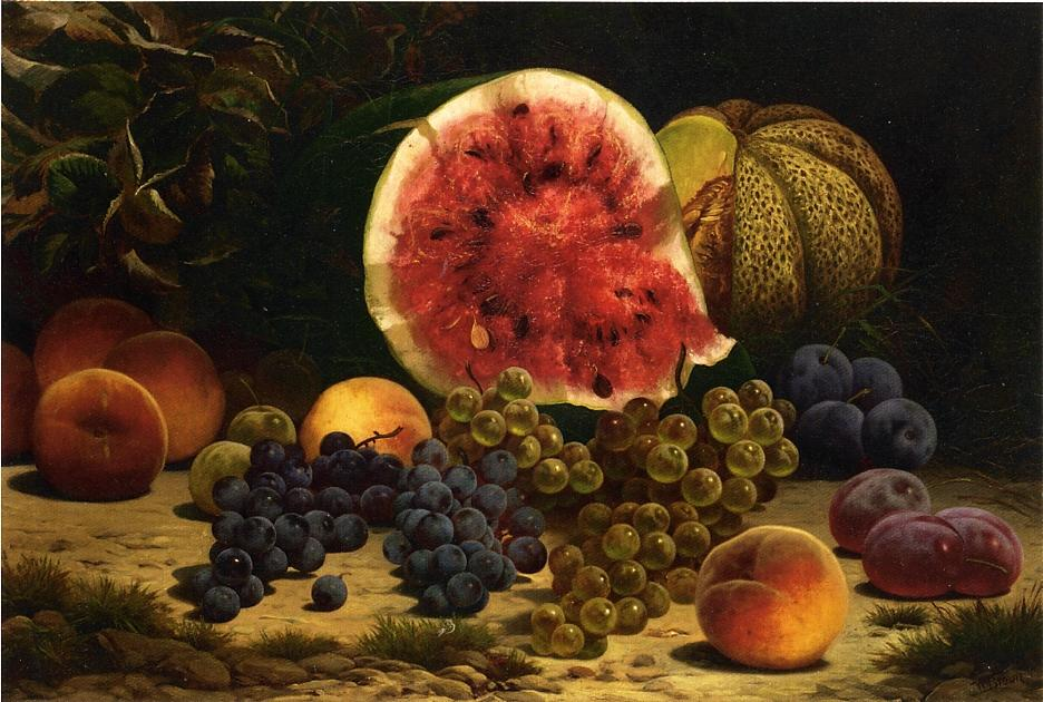 Still Life with Watermelon Grapes Peaches Plums and Plums   William Mason Brown   oil painting