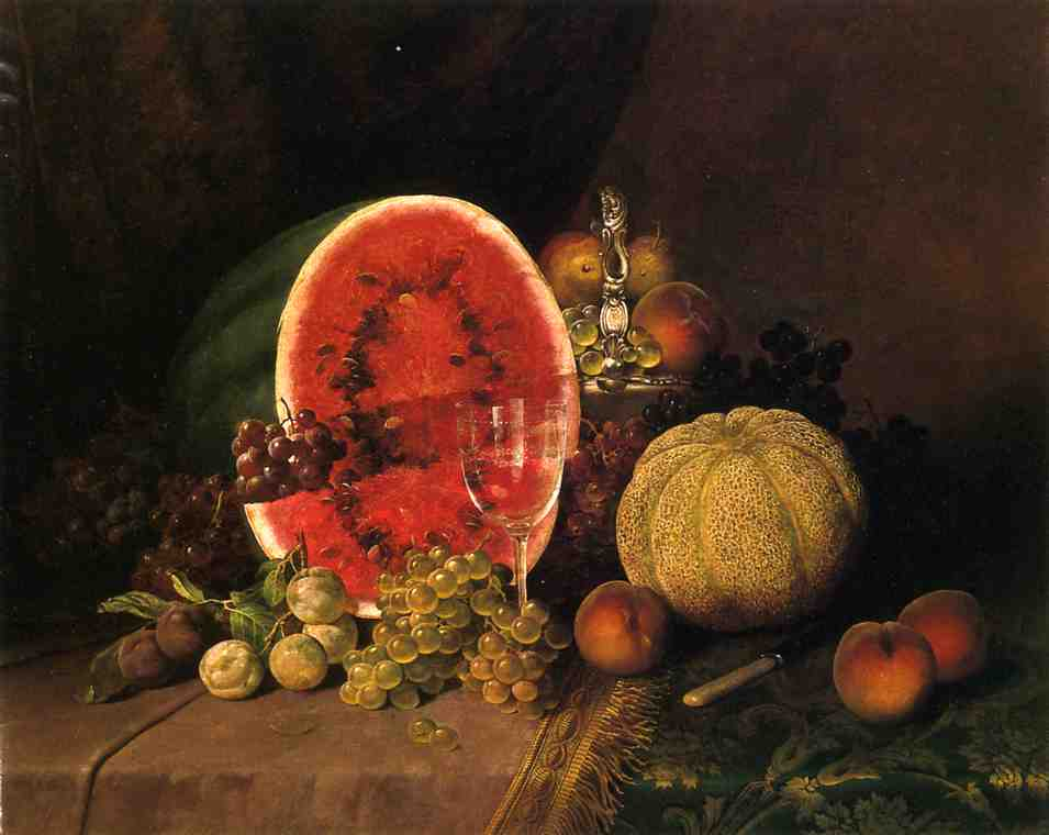 Still Life with Watermelon Grapes Peaches Plums and Cantaloupe   William Mason Brown   oil painting