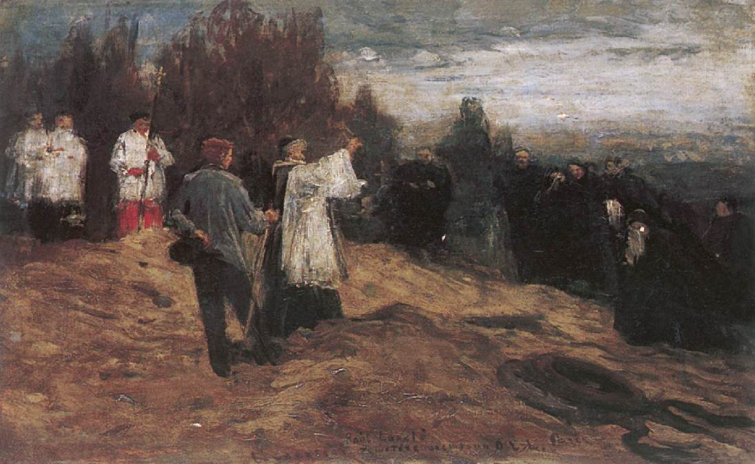 The Funeral of Laszlo Paal 1879 | Ebner Lajos Deak | oil painting