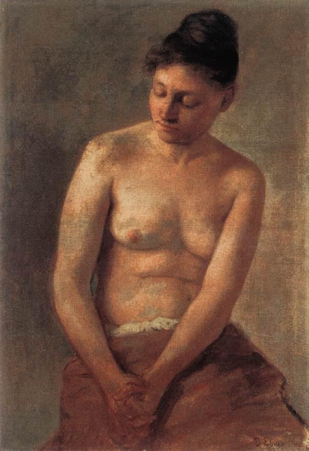 Sitting Nude | Ebner Lajos Deak | oil painting