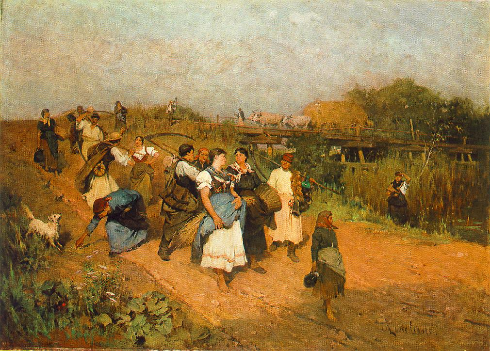 Returning Harvesters 1881 | Ebner Lajos Deak | oil painting