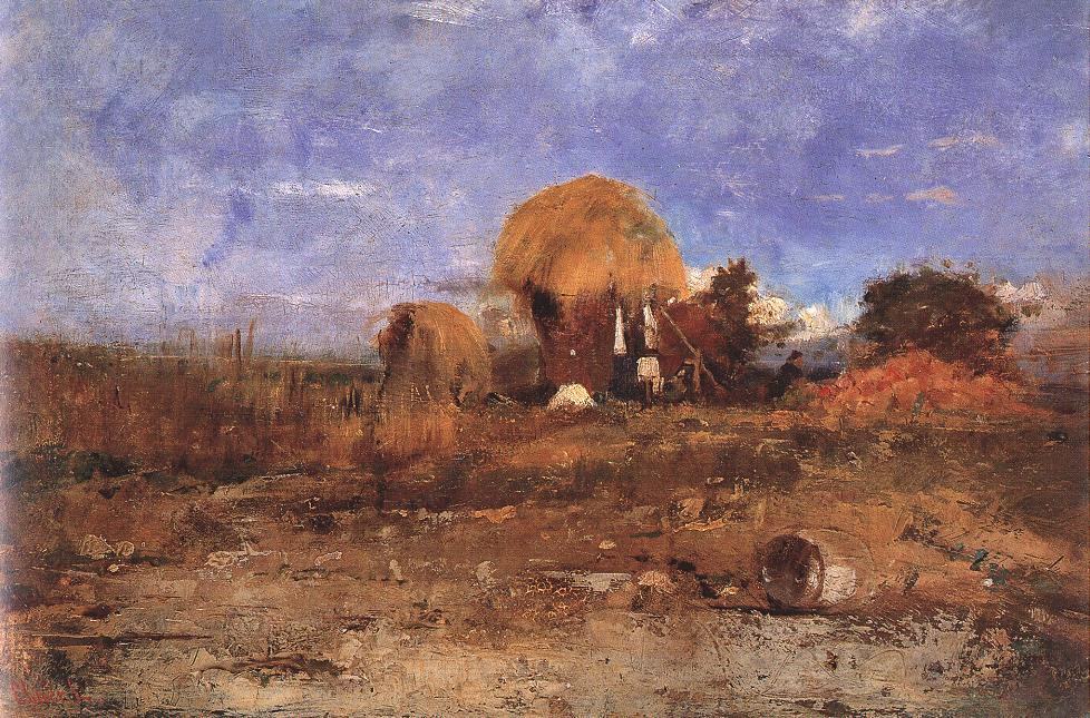 Landscape with Straw Hut 1875 | Ebner Lajos Deak | oil painting
