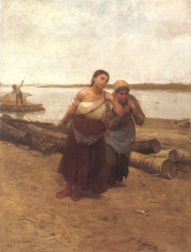 Boat Warpers 1885 | Ebner Lajos Deak | oil painting