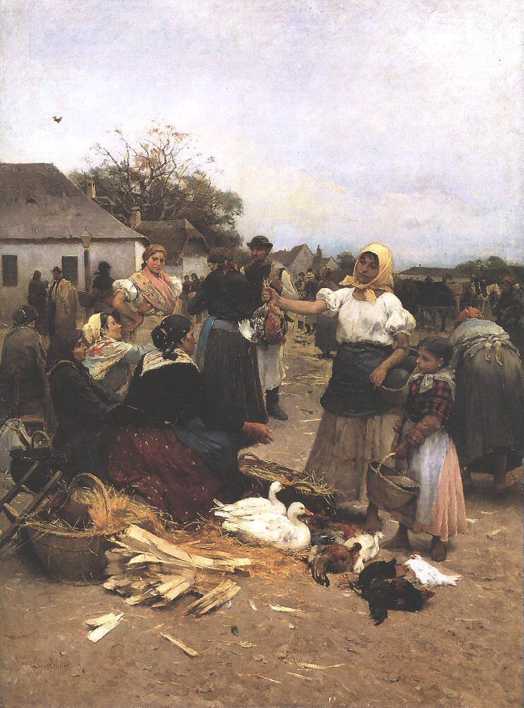 Poultry Market 1885 | Ebner Lajos Deak | oil painting