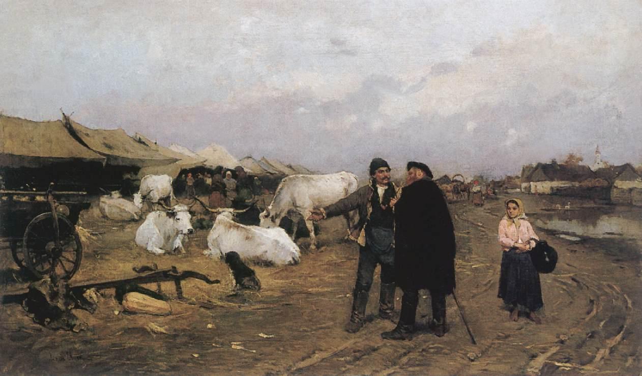 Market Scene 1880s | Ebner Lajos Deak | oil painting