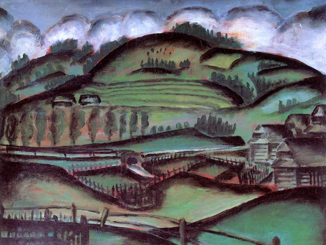 Landscape (Mountain Village) 1913 | Ede Bohacsek | oil painting