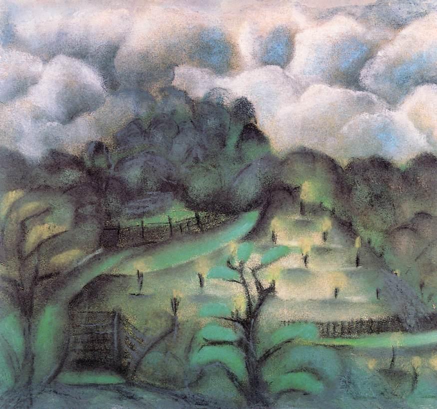 Torokbalint (Cloudy Ladscape) | Ede Bohacsek | oil painting