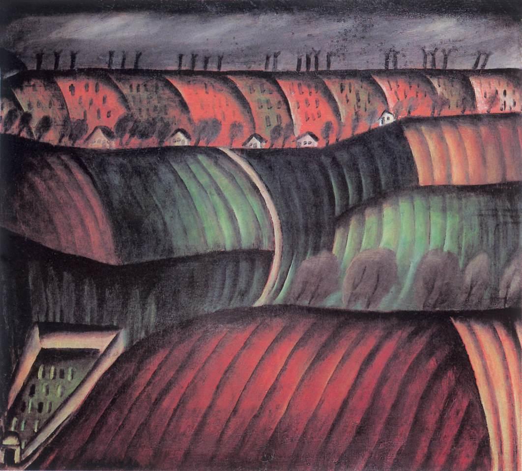 Ploughland (Landscape) c 1913 | Ede Bohacsek | oil painting