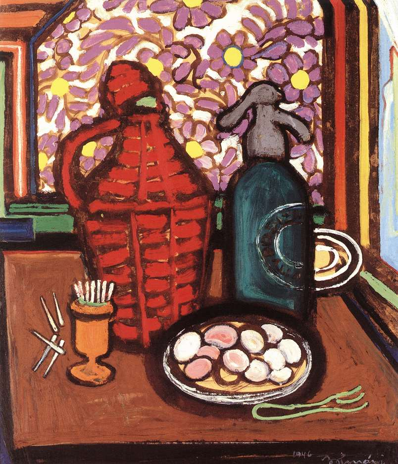 Table Still life with Demijohn 1946 | Ferenc Bolmanyi | oil painting