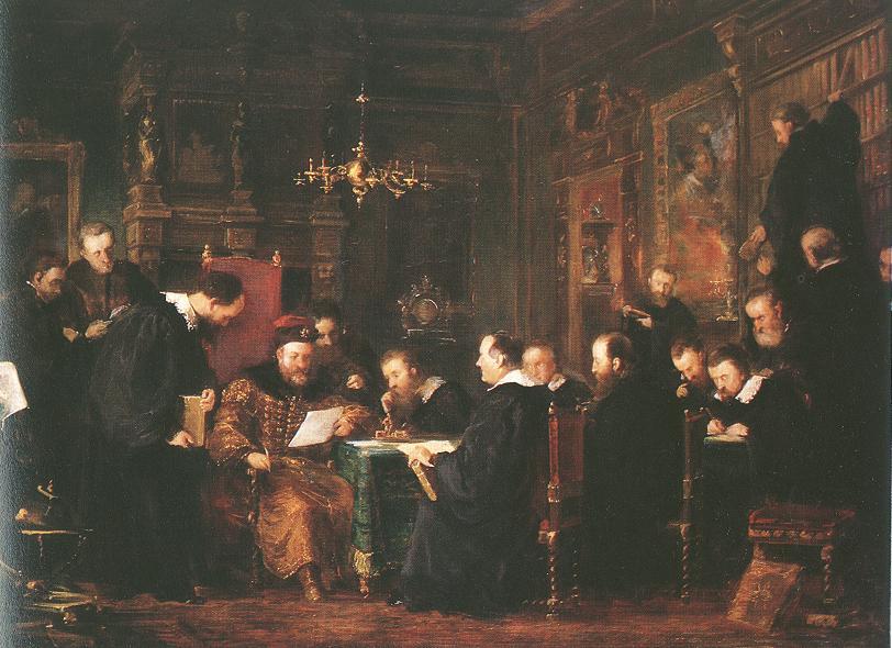 Gabor Bethlen among his Scholars (sketch) 1870   Geza Dosa   oil painting