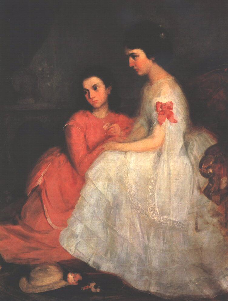 Portrait of Two Girls 1870-71 | Geza Dosa | oil painting