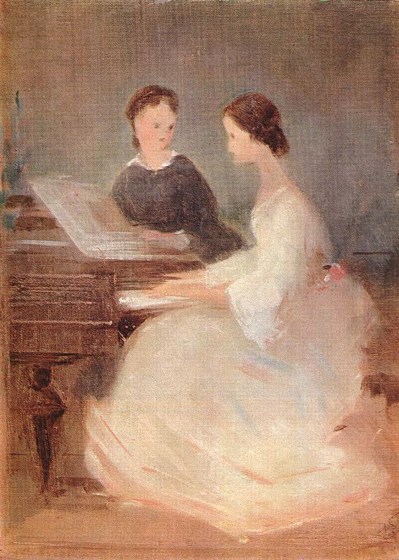 At the Piano 1870 | Geza Dosa | oil painting